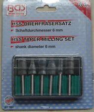 BGS Drehfräsersatz HSS, Fräsersatz mit 6 mm Schaft, 6-teilig
