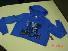 NWT Womens Cobalt Blue Cropped Top Hooded Sweatshirt Hoodie Embellished Summer