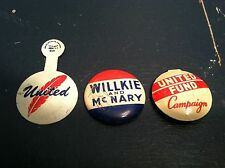 (3) Vtg Campaign/Election/Politics Buttons WILLKIE & McNARY UNITED FUND Chicago