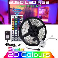5M Waterproof LED Strip Light 12V US Power Full Kit SMD 44 Key Remote RGB 5050