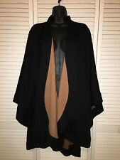 Black Camel Tan Reversible Cape Shawl Sweater Wrap Coat One Size