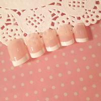 24Pcs White French Nails 24 Pcs Classical Full Cover Short Oval False Nails TO
