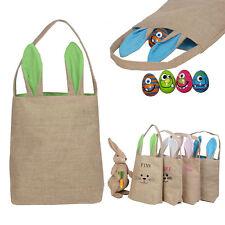 Creative Easter Egg Basket Bag for Kids Bunny Burlap Bag to Carry Eggs Candy