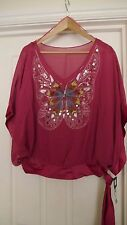 BNWT F& F 100% polyester blouse hand finished butterfly with squins LARGE