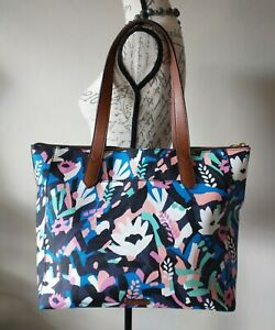Fossia Fiona Tote Bag Multicolor Floral Print Large Zip 7-Pockets