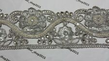 Diamante Pearls Gold Silver Bridal embroidered pattern lace trimming Wedding
