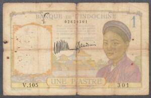 French Indochina 1 Piastre Banknote P-52 ND 1932
