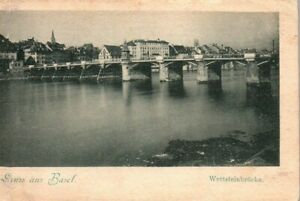 Basel Switzerland Wettstein Bridge UDB Vintage Postcard
