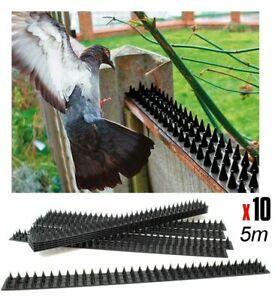 10x Vogel Abwehr Kletter Schutz Spikes Spitzen Katzen Einbrecher Zaun 5m (A-657)