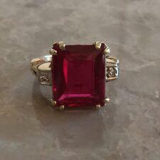14K Yellow Gold Lab Created Ruby Genuine Diamond Ladies Vintage Ring