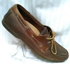 ST. JOHN'S BAY Men's Brown Leather Boat Shoes Size 10 M
