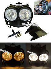 Bug Eyed Dual Headlight + Upper Cover + Guard Set Black For YAMAHA Zuma BWS 125