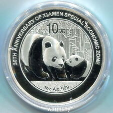 China 2011 30th Xiamen Special Economic Zone Panda Silver Coin 1 OZ 10 Yuan COA
