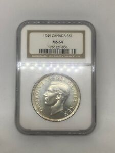 1949 Canada 🇨🇦 Silver Dollar $1 NGC MS-64 -*Pretty Light Gold Toning!