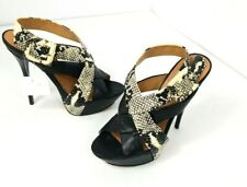 L.A.M.B Gwen Stefani Women's 7.5M Open-Toe Snake-Print Leather Heels Stiletto