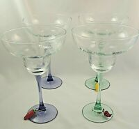 4 Mexican Honeycomb Margarita Multi Colored Purple Green Stem Glasses 7 1/4""