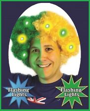 FLASHING LED Green Yellow AFRO WIG Aussie Brazil Commonwealth Olympic Carnival
