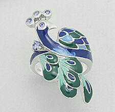 8g Solid Sterling Silver Blue Enamel & Tanzanite Peacock Ring sz8