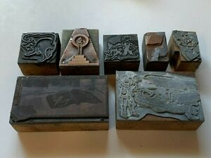 Lot of 7 vintage Printers Blocks stamps candle, book, cat, guy drinking, car
