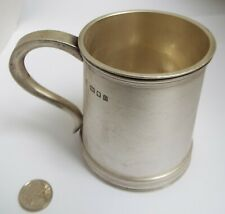 LOVELY HEAVY GAUGE ENGLISH ANTIQUE 1923 STERLING SILVER CHRISTENING TANKARD MUG