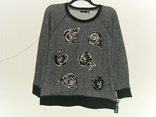 Women's Apt.9 Sequin Floral French Terry Sweatshirt Black/Gray Marble Sz: 0X New