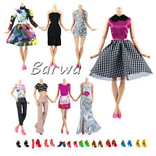 10 evening dresses clothes +10 pairs shoes for 11.5 inch doll barbie doll