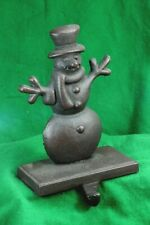 Cast Iron Snowman Christmas Stocking Mantel Hook Holder.