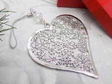 SWAROVSKI ELEMENTS Crystal Bead Silver Plated HEART Tree Ornament Decoration