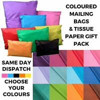 Coloured Tissue Paper & Mailing Bag Mix Pack - Polythene Post Gift Wrapping Kit