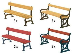Faller HO Scale Scenery Accessory Kit Park Benches - Assorted Colors 12-Pack