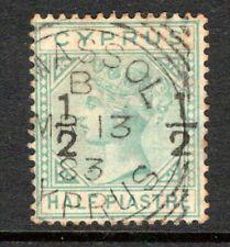 Cyprus QV 1882 (Wmk CC) Surch ½ on ½pi Emerald Green SG23 Used