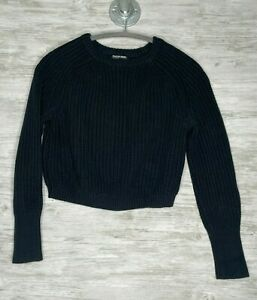 American Apparel Size S Womens Black Knit Crop Sweater Long Sleeve Pullover
