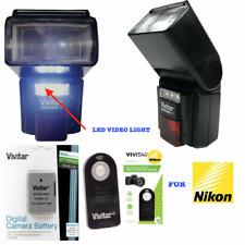 DEDICATED LED FLASH +LED LIGHT + REMOTE +EN-EL14 BATTERY FOR NIKON D3500 DSLR