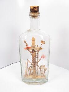 Vintage Rare Folk Art Carved in Bottle Jesus Crucifix Handmade Trench Art German