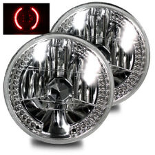 "Glass Crystal Diamond Headlights Lamps H6014/H6015/H6024 7"" Inch Round Red Led"