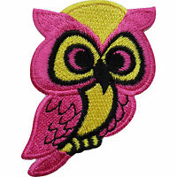 Pink Owl Embroidered Iron / Sew On Patch Bag Jacket T Shirt Jeans Badge Transfer