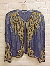 Vintag 80s M Black Gold Silk fully Beaded Jacket Evening Glam Rock Royal Feeling