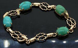 Vintage 14K yellow gold 8.5 x 11.5mm natural turquoise link bracelet