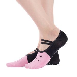 Women's Cute Cat Style Ballet Grip Non-Slip Socks for Pilates Yoga One Size BS