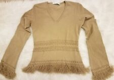 Twin-Set Brand V-neck Women's Gold Beige Blouse Top Fringe Size M Made in Italy