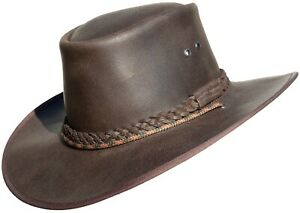 Cuir Chapeau Bushman Cow-Boy /Outback/Australien Style Crafted En South Africa