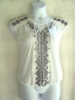 Womens Cato Top Size M Aztec Embroidered White Black V-Neck Short Sleeve Lace-up