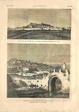 Ville de Kef Colonne du Général Logerot Ville de Béja Tunisie GRAVURE 1881