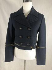 BCBG Size M Double Breasted Cropped Jacket Zip Sleeve Navy Blue PreOwned
