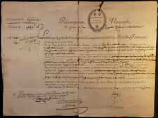 KING LOUIS XVI SIGNATURE - PENSION RECOMPENSE NATIONAL TO A COLONEL VETERAN 1792