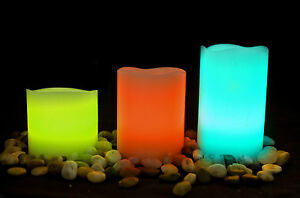1 Set 3 x Flickering Remote Real Wax LED Candle 12 MultiColour Wedding Tea Light