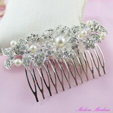Pearl & Rhinestone Bridal Hair Comb Hair Accessory 80mm