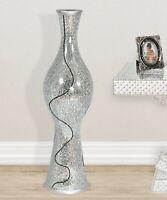 "50"" Tall Silver Mosaic Sparkling  Mirror Floor Wedding Vase"