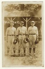 PORTRAIT OF THREE OLD TIME BASEBALL PLAYERS (VINTAGE REAL PHOTO POSTCARD)