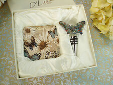 D'Lusso Designs Murano Butterfly Design Stopper with 2 Coaster Set